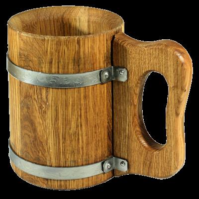 Деревянная пивная кружка из дуба - 1 л - фото 6730