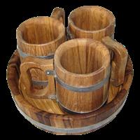 Набор пивной 3 кружки дубовые